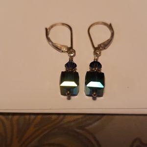 Earrings  sterling marked Swarovski  crystal